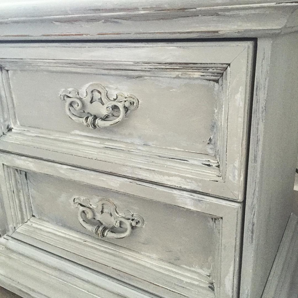 grey distressed 2 drawer night stand