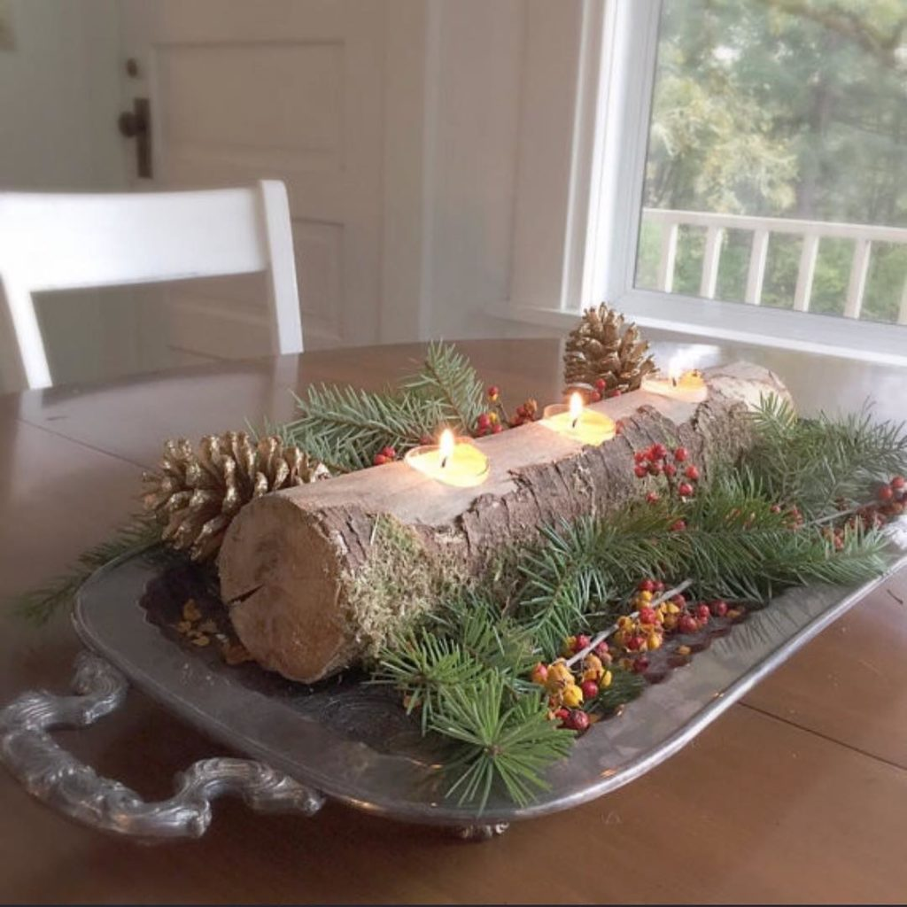 Simple easy holiday decor for fall or winter. Found in shop link @hallstromhome *made by our 16 year old son #rusticdecor #logcandleholder