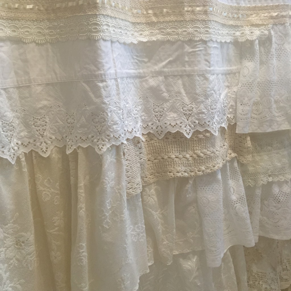 layers of white and cream lace