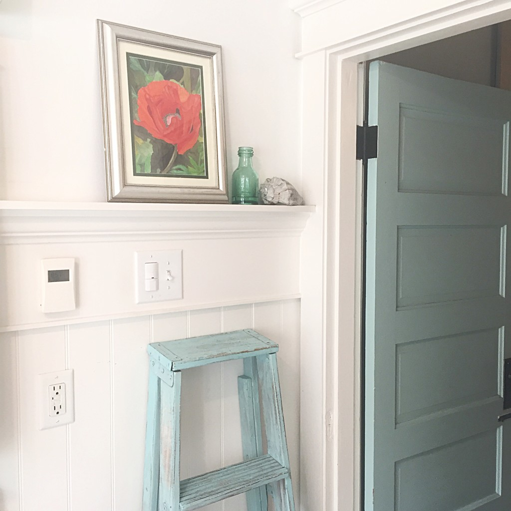 BLue farmhouse door with red poppy painting on shelf and blue farmhouse ladder leaning against wall