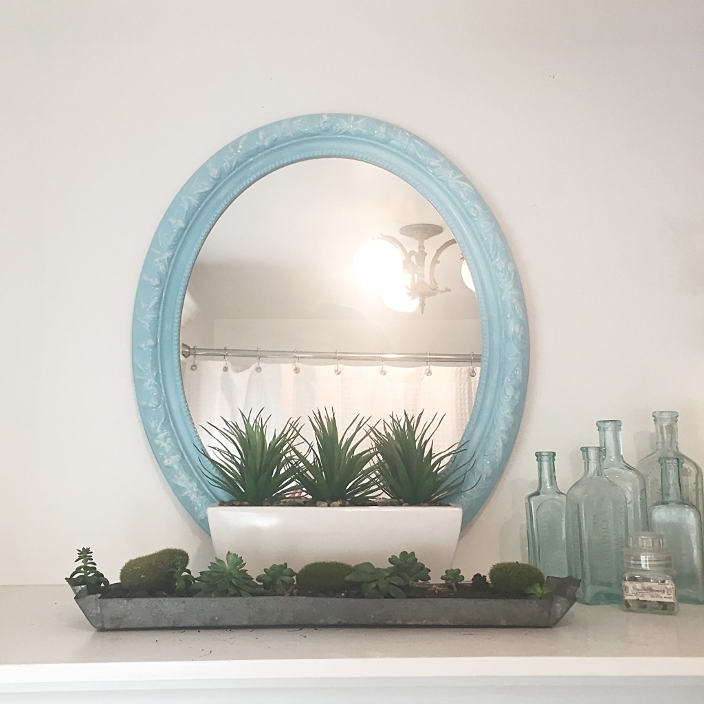 Blue oval mirror with green small plants in front with 6 little bottles to the right of mirror