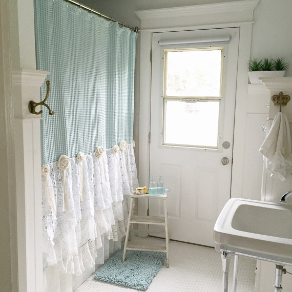 Blue And White Lace Bathroom Shower Curtain In With Rug Step