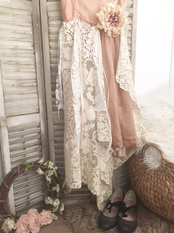 Decorating Vintage Cottage Chic Style white and pink lace dress hangin on shutters with black heels below