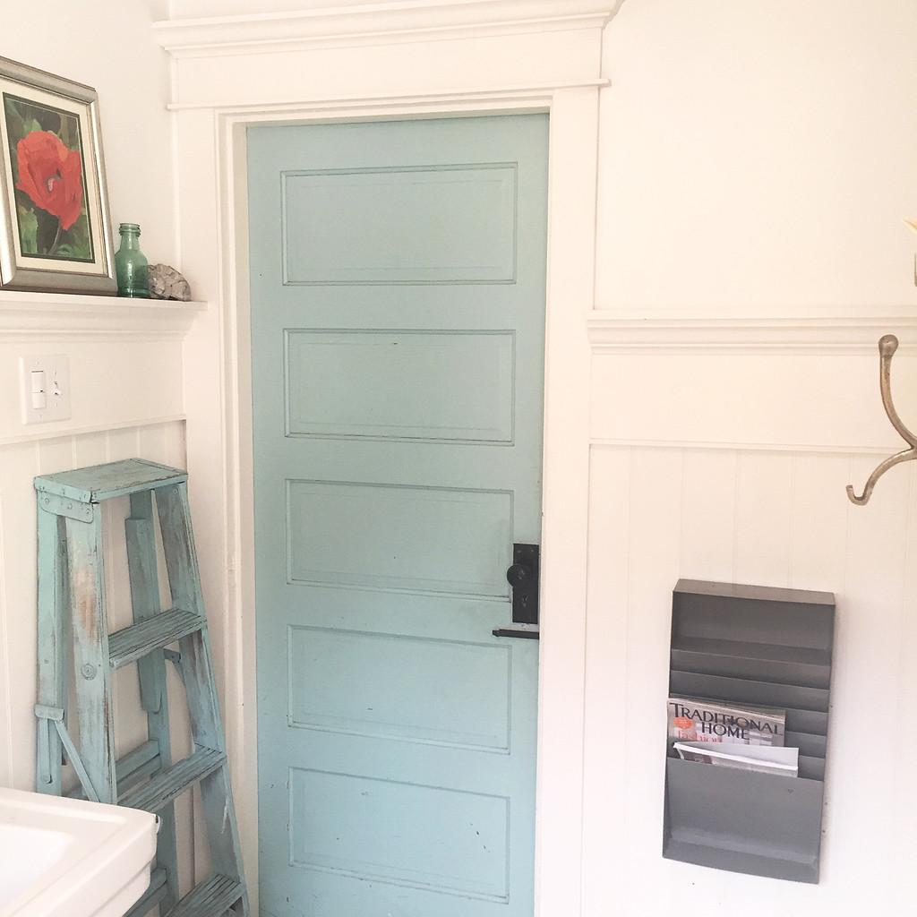 DIY Farmhouse Ladder - Our Favorite Aqua Blue Hallstrom Home