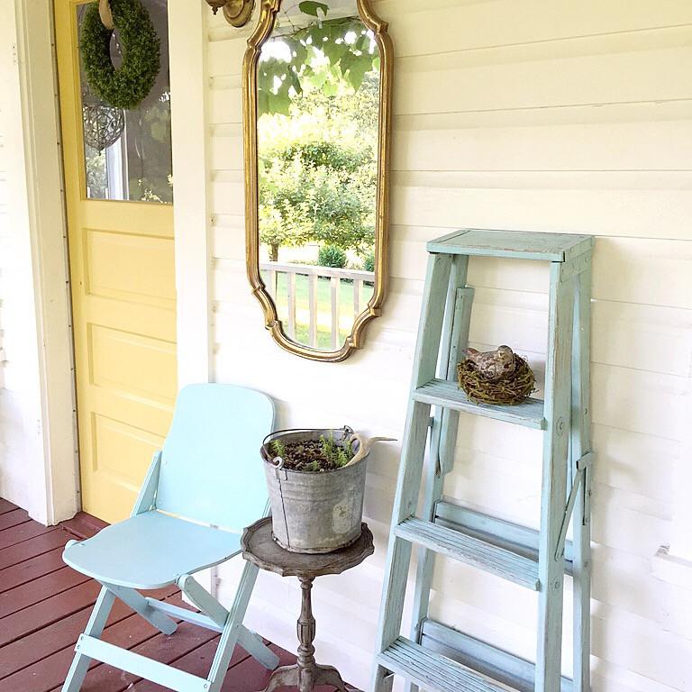 DIY Farmhouse Ladder - Our Favorite Aqua Blue by Hallstrom Home