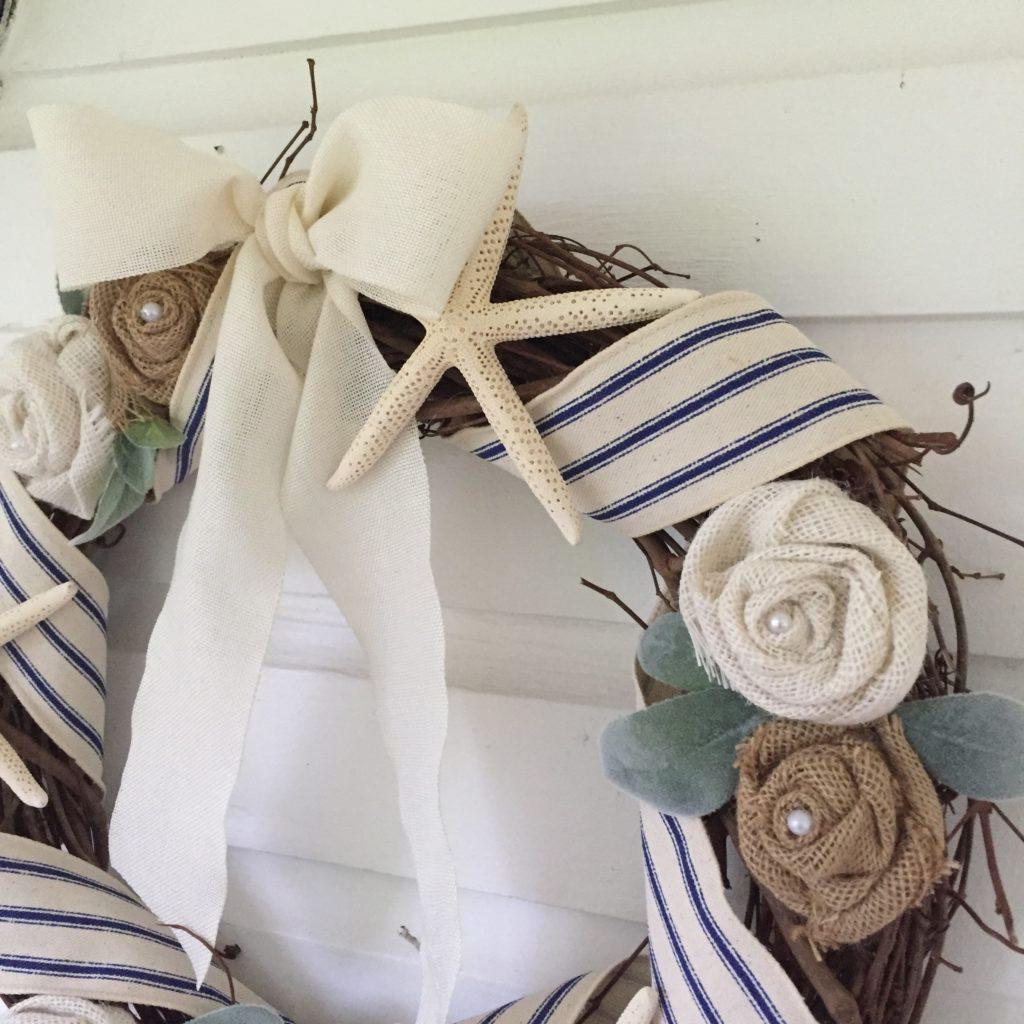 How to Make a Seashell Wreath for Coastal Beach Home|sea shell wreath|burlap roses|home made wreath|shabby chic wreath|farmhouse wreath|beach decor|beach wreath|diy crafts|kids diy|kids craft|wreath diy|wreath craft|farmhouse decor|hallstrom Home