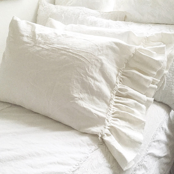 Fabulous Washed Linen Ruffle Bedding Hallstrom Home Download Free Architecture Designs Intelgarnamadebymaigaardcom