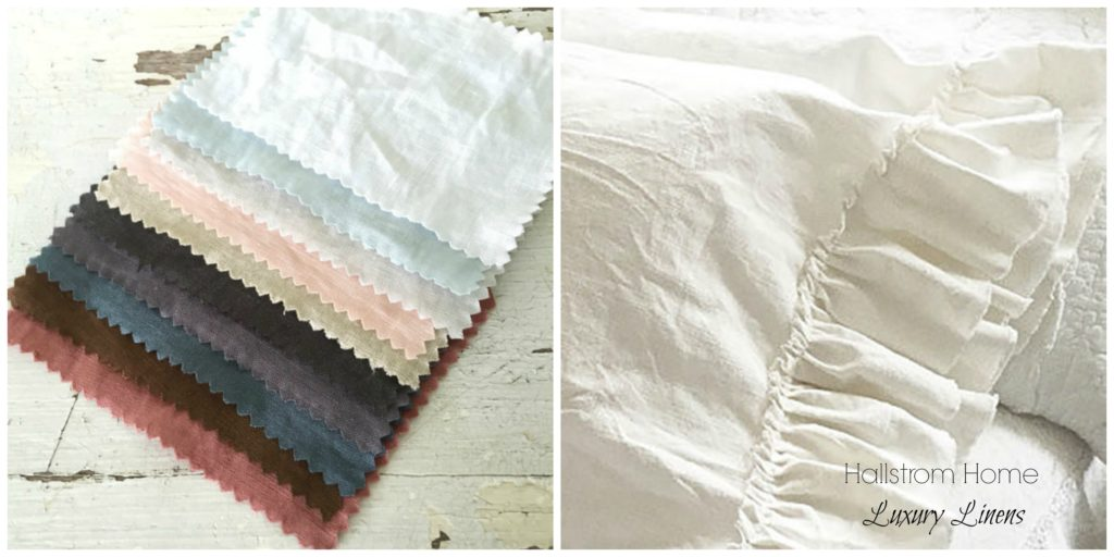 New to Hallstrom Home: Luxury Linens|luxury bedding|linen shower curtain|shabby chic bedding|farmhouse bedding|bedding|hallstrom home products|white farmhouse|farmhouse linen bedding|handmade linen|hallstromhome