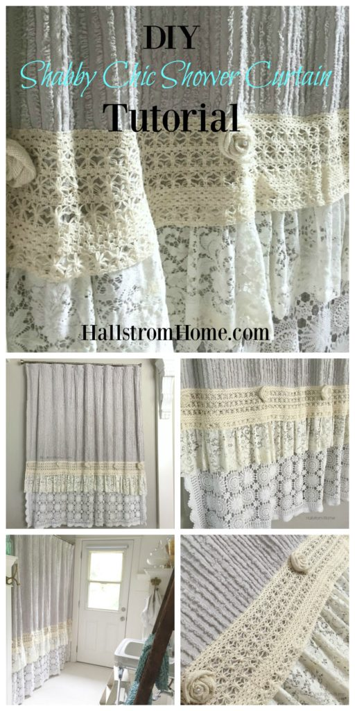 DIY Shabby Chic Shower Curtain Tutorial|lace shower curtain|shabby chic bathroom |how to make a shower curtain|no sew shower curtain|shabby chic decor|diy shower curtain|home tutorial|bathroom tutorial|shower curtain diy|hallstromhome
