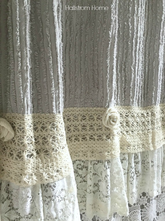 layered lace shower curtain Hallstrom Home