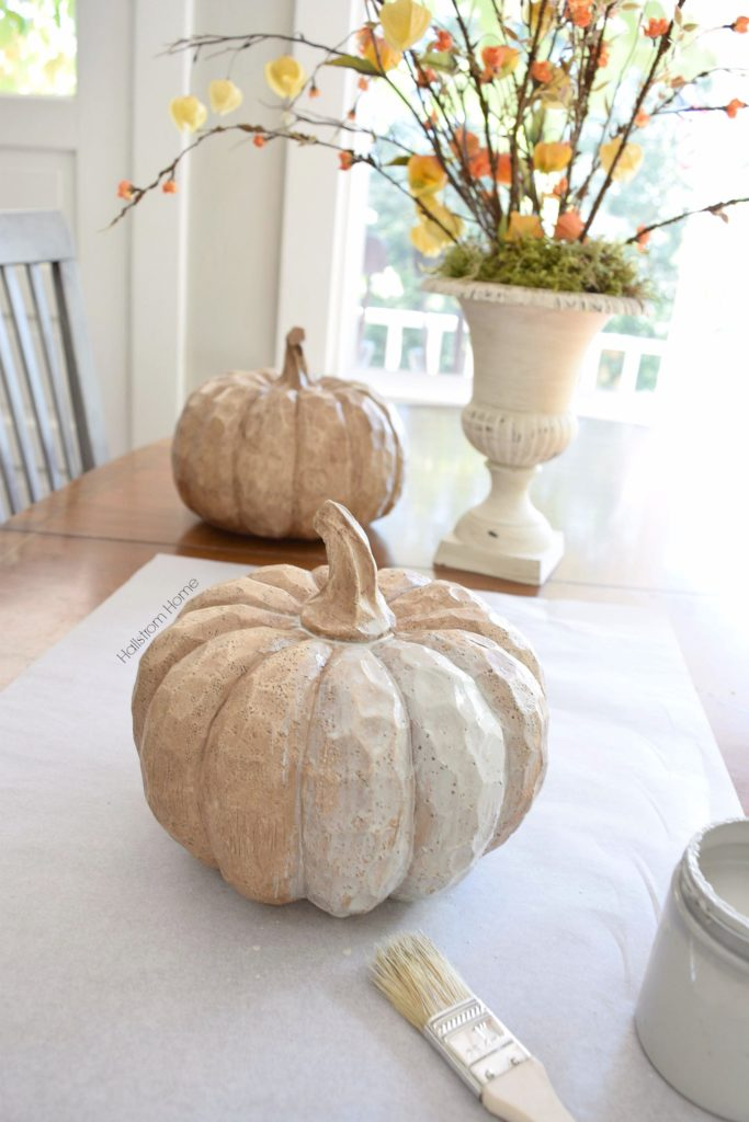 DIY fall chalk paint pumpkins Hallstrom Home