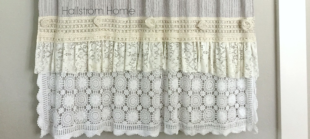 DIY shabby chic shower curtain tutorial-Hallstrom Home