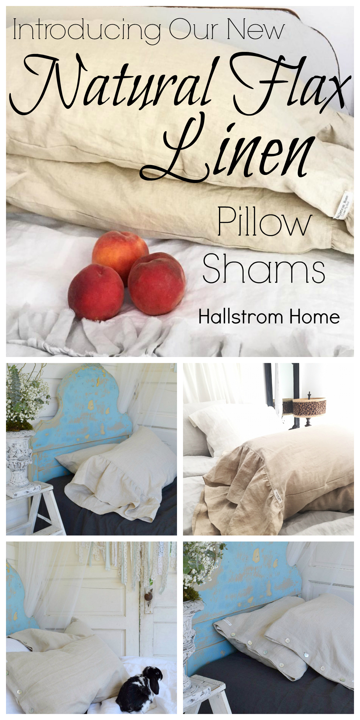 Introducing Our Natural Flax Linen Pillow Shams|bedding|luxury bedding|ruffled linen pillow shams|hallstrom home products|farmhouse bedding|shabby chic bedding|linen pillow shams|white farmhouse|linen bedding|hallstrom home