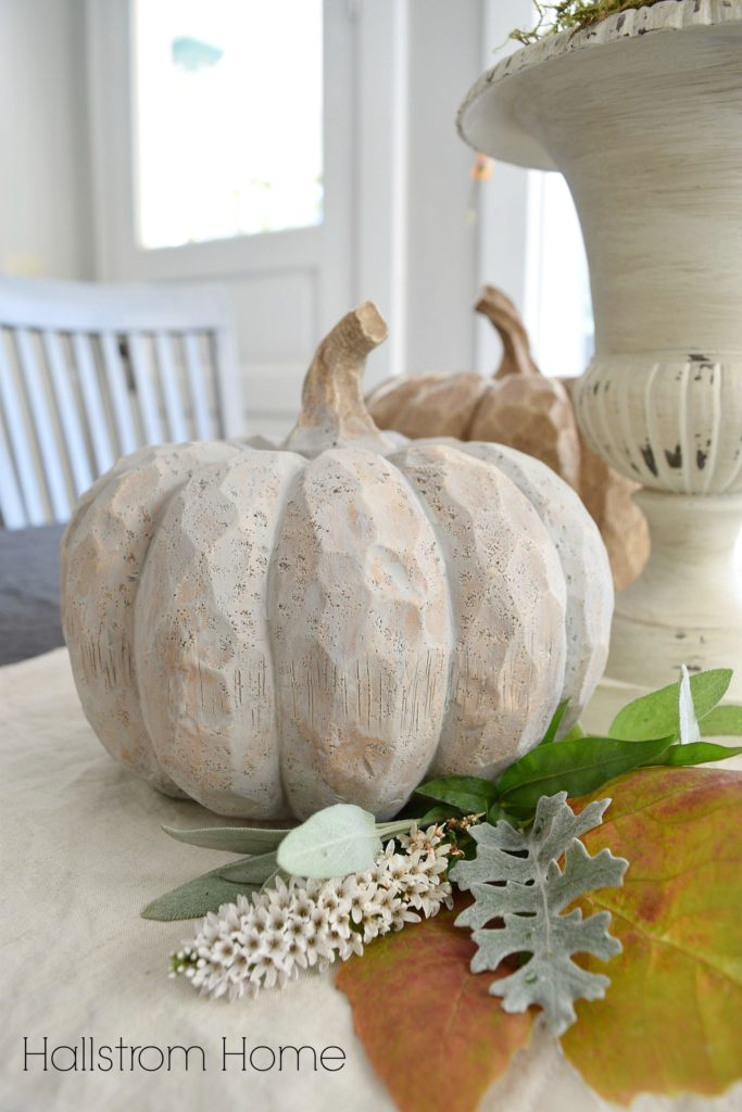 chalk paint pumpkins tablescape Hallstrom Home