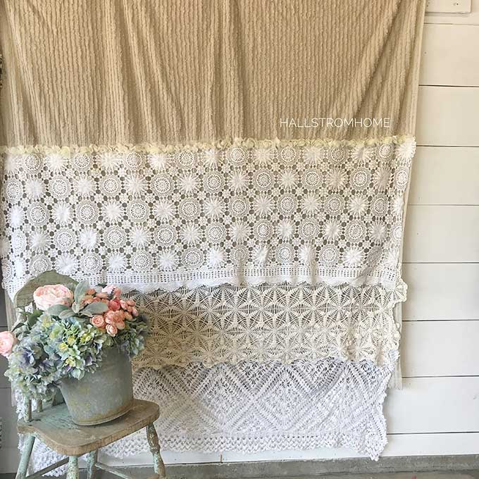 DIY Shabby Chic Shower Curtain Tutorial #shabbychic #chicfarmhouse #farmhouse #farmhousebathroom #frenchfarmhouse #bathroomremodel #showercurtain #hallstromhome #shabbychicbathroom #chichomedecor #homeremodel #designtips #diy #diycrafts #tutorial #showercurtaintutorial