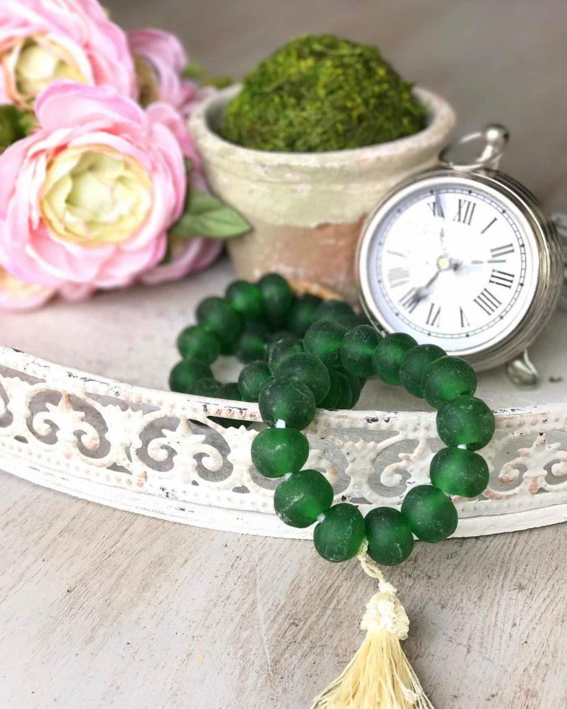 Sea glass beads for home decor