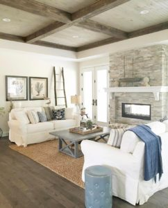 Oh what a room!! Wood ceilings white furniture with justhellip