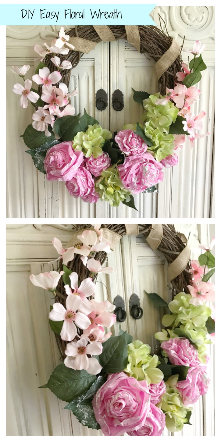 DIY easy floral wreath with 2 images. grapevine wreath with pink and green flowers and burlap ribbon wrapped around