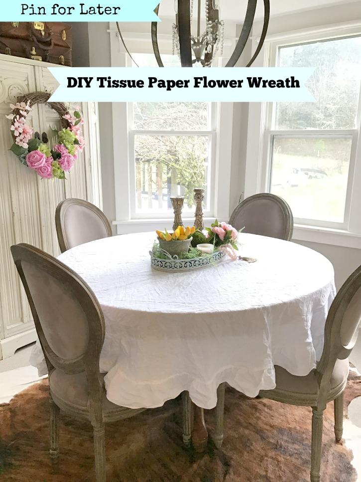 DIY tissue paper flower wreath Spring home Decor
