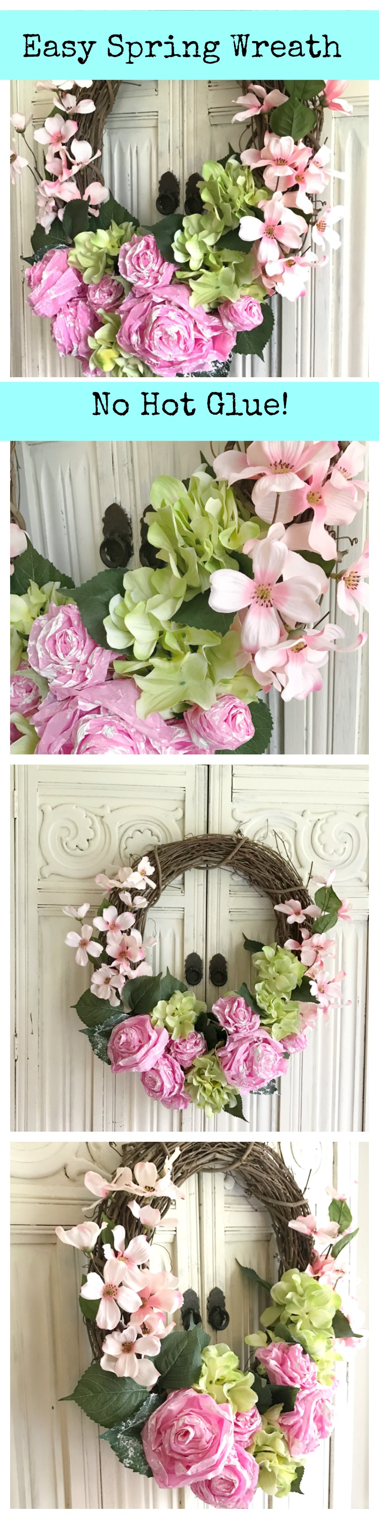 Easy Spring Wreath DIY paper tissue flower wreath by HallstromHome