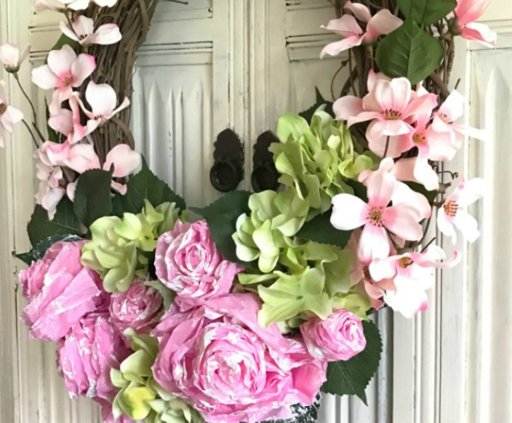 DIY Tissue Paper Flower Wreath #wreath #diywreath #hallstromhome #shabbychic #farmhouse #partydecor #gardendecor #diywreath #craft #tissuepaper #flowerwreath #tissuepaperflower #wallhanging #springdecor #spring #springcraft