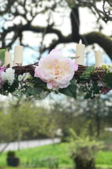 Creating a DIY wedding hanging chandelier wreath