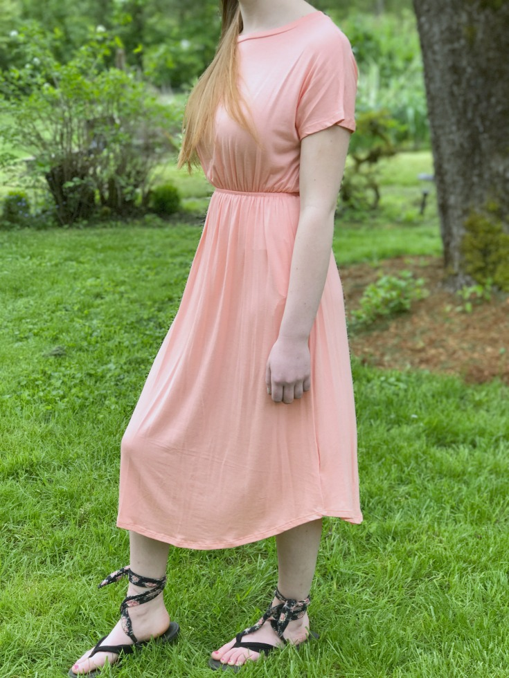 Modest Knit Summer Dress With Sleeves In Pretty Pink This Is Perfect For Girls That Love A Little Splash Of Color To Pair Other Layers Like Jean