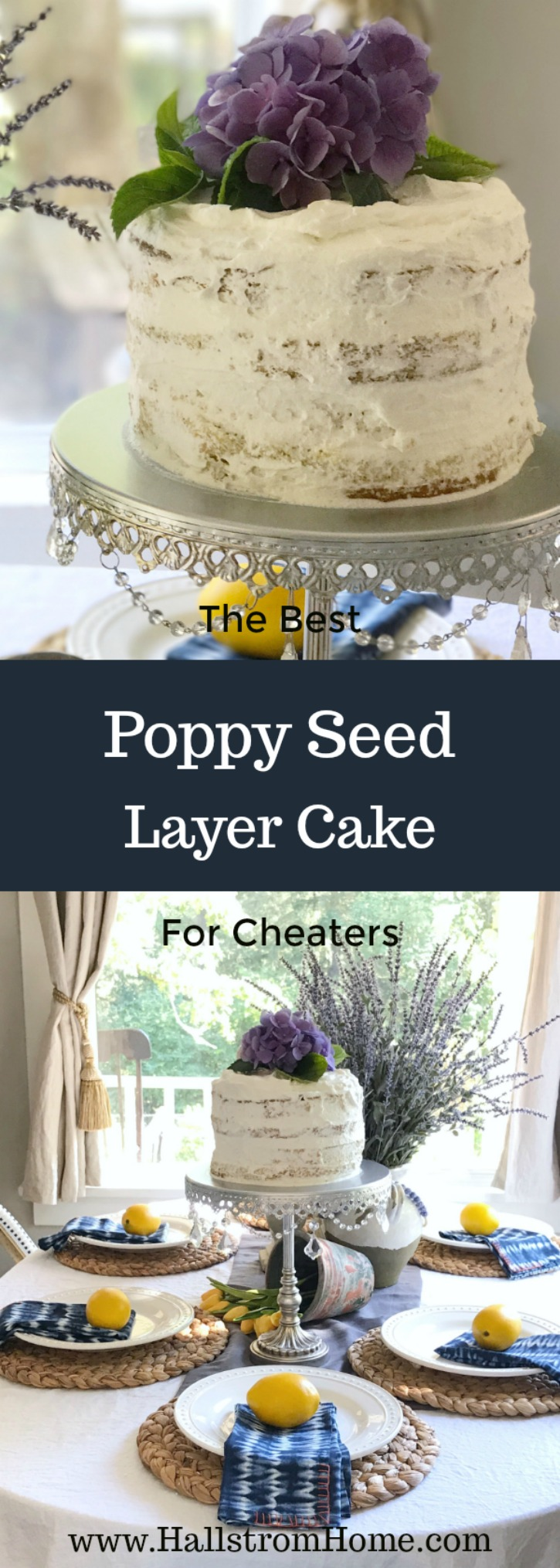 The Best Poppy Seed Layer Cake for Cheaters | cake mix hack for lemon poppy seed cake | Muffin mix for making cakes | Easy to make. | Spring birthday , baby shower, Easter cake ideas | Hallstromhome.com