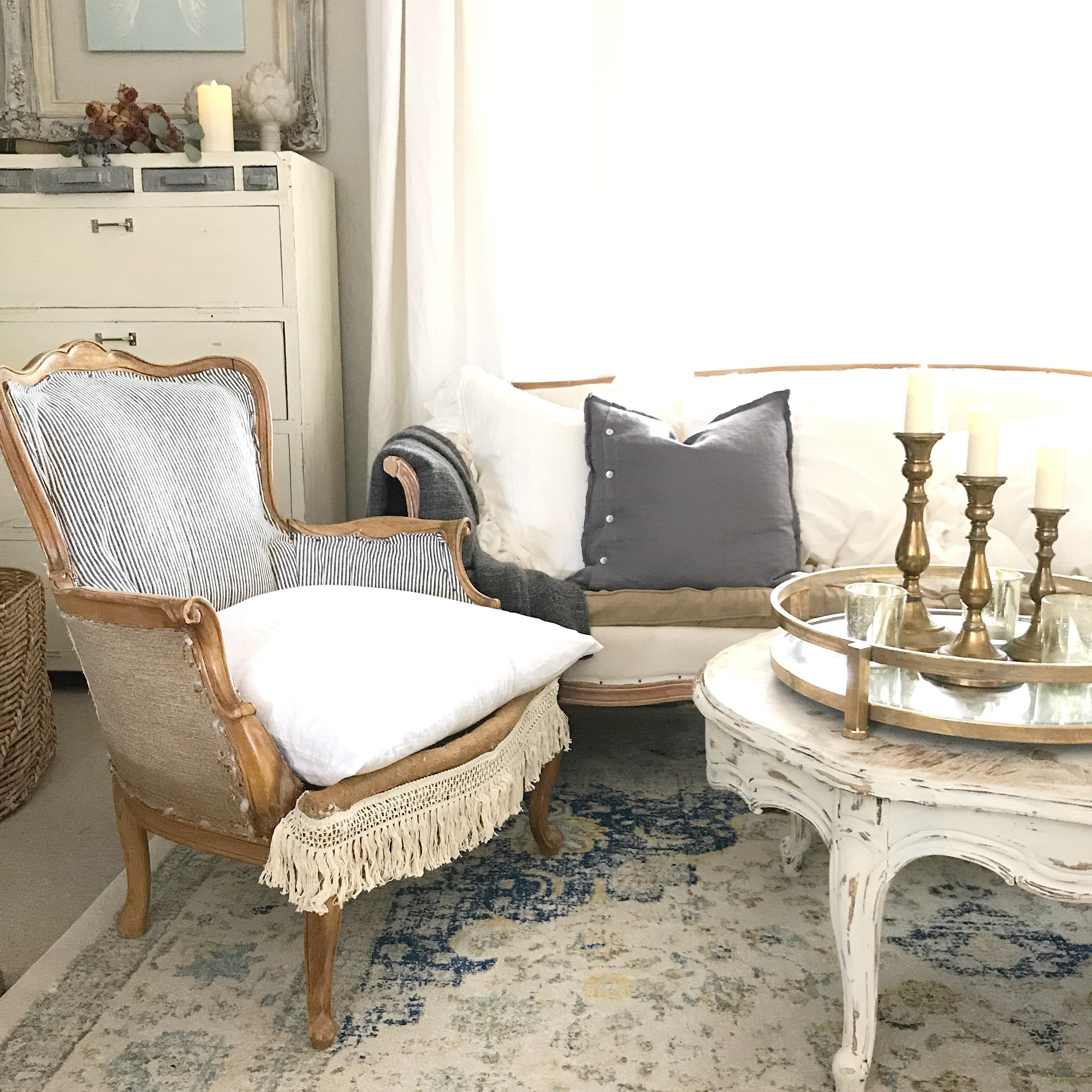 Farmhouse Blue Ticking Stripe Chair