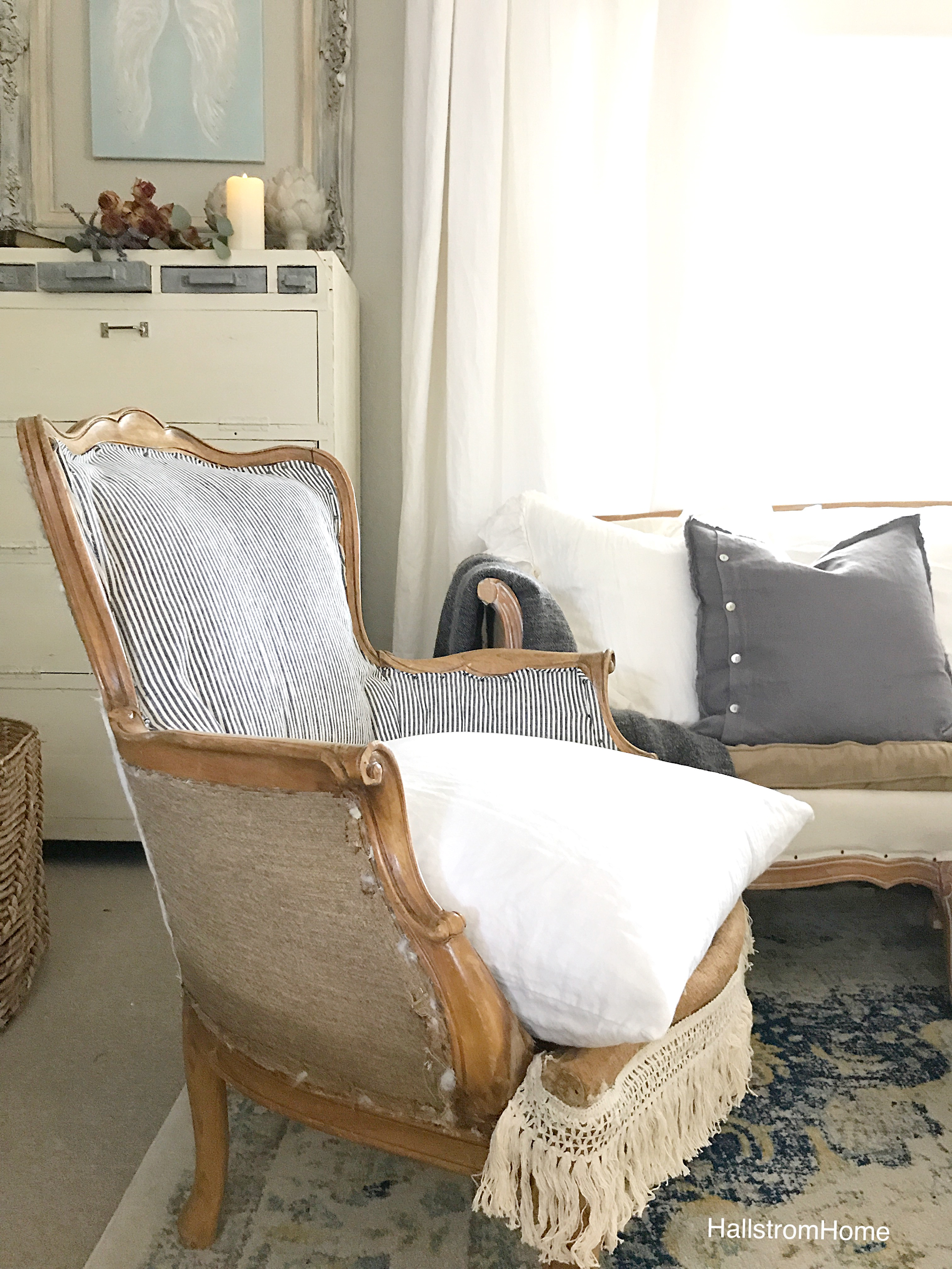 burlap and ticking stripe chair