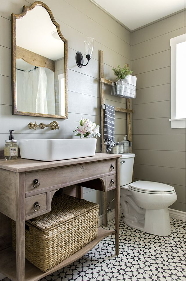 13 Beautiful Farmhouse Bathrooms|farmhouse bathroom|farmhouse bathroom shower curtain|farmhouse bathroom decorating ideas|farmhouse bathroom vanity|bathroom vanity|farmhouse decor|shabby chic|hallstromhome
