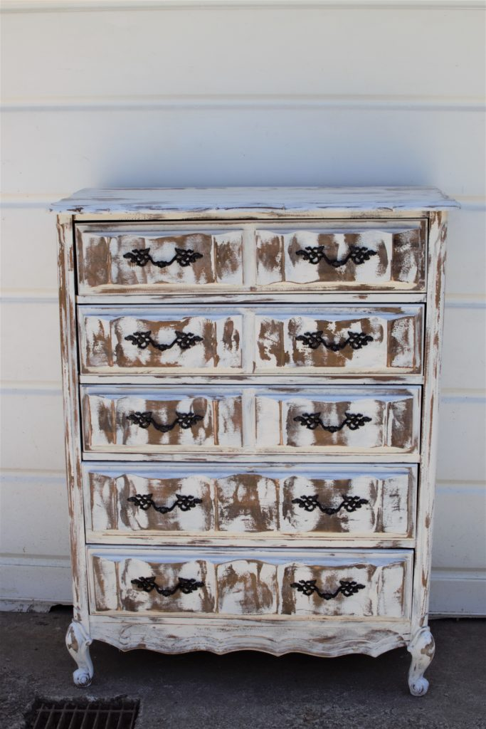 white chippy painted 8 drawer dresser