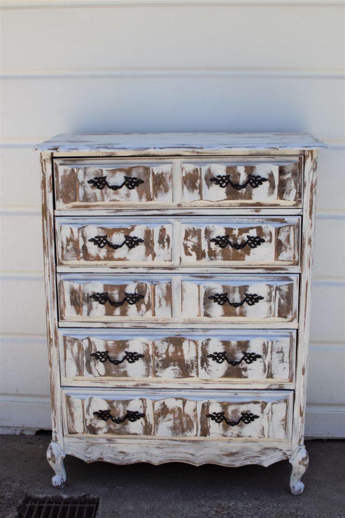 white chippy painted 8 drawer dresser