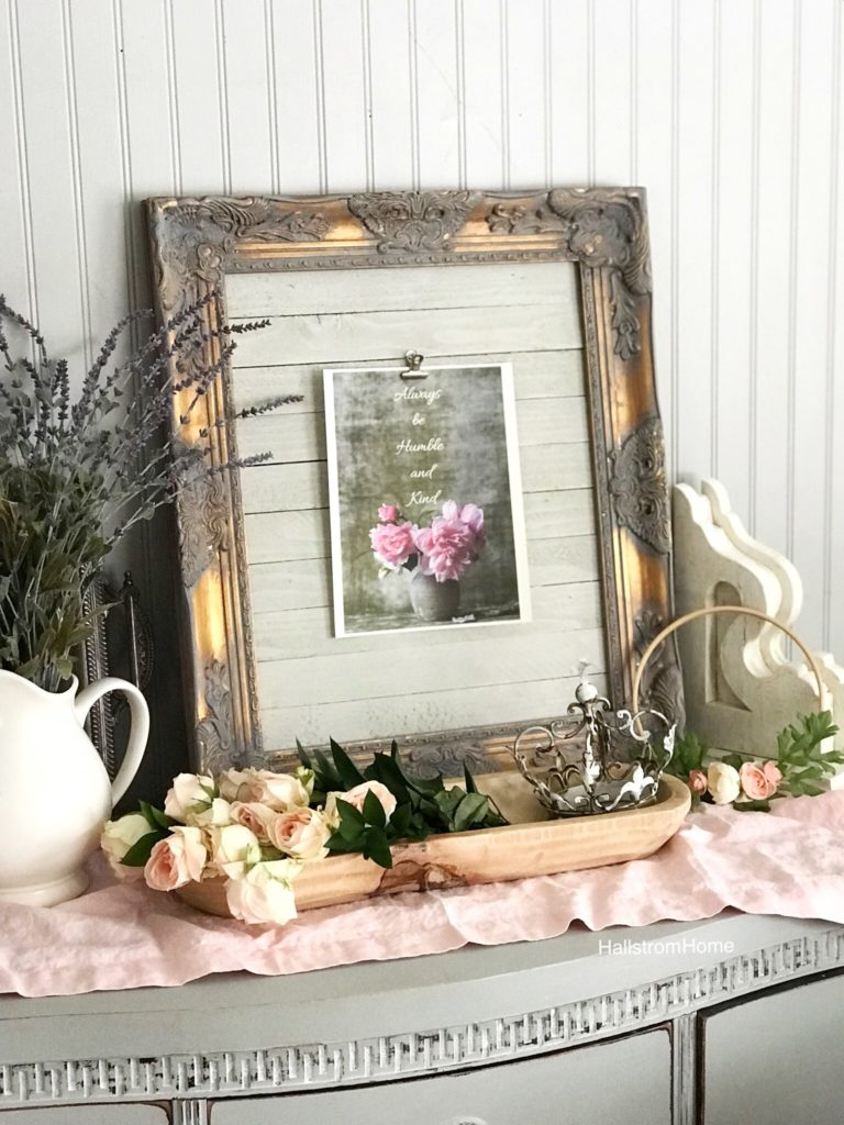 gray and gold frame with flower farmhouse printable with dough bowl filled with pink flowers and metal crown