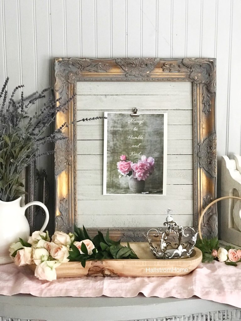 Framed Farmhouse Wall Printable Idea gray and gold frame with white wood inside and pink flower printable. dough bowl infront filled with pink roses and metal crown