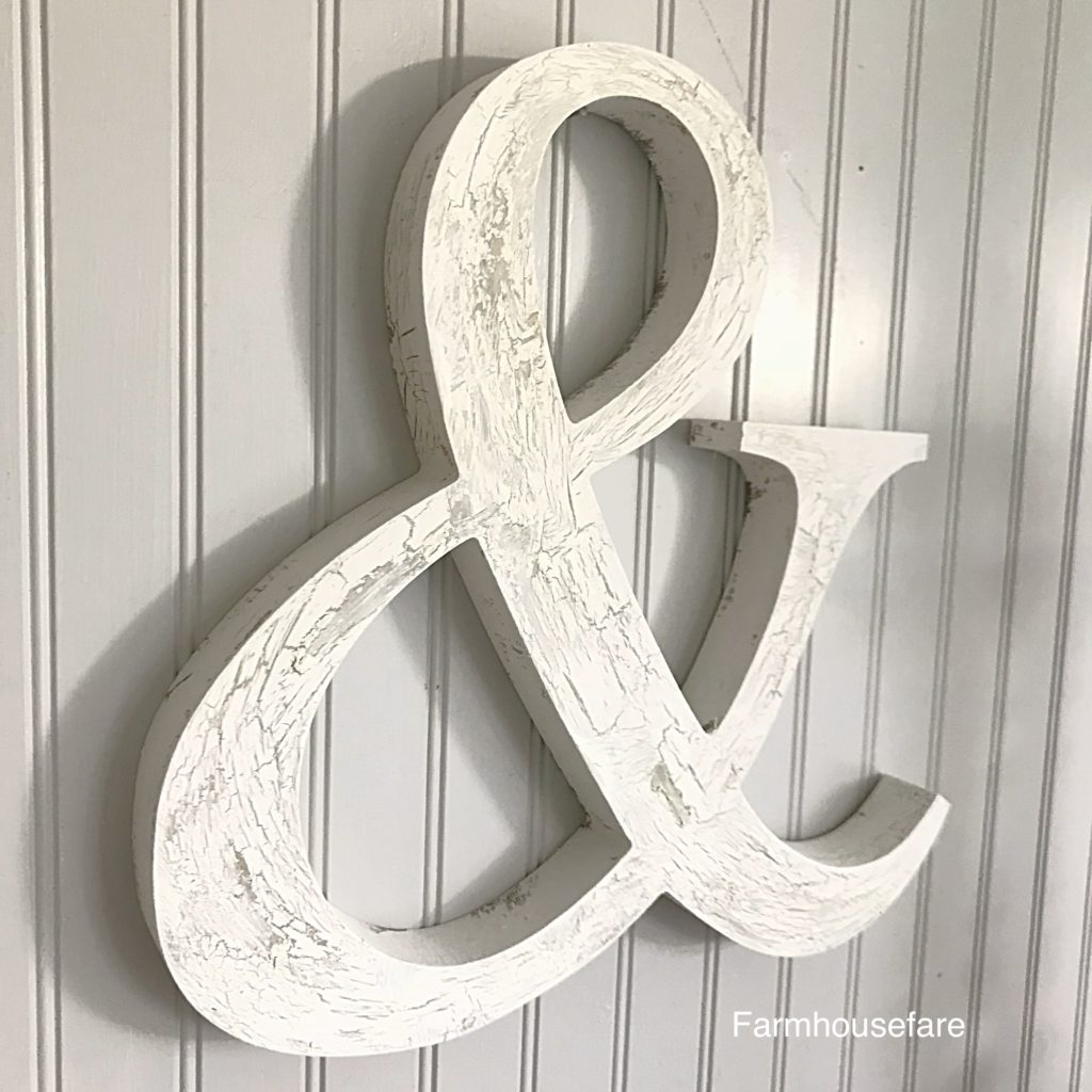 white chippy painted wood ampersand wall hanging