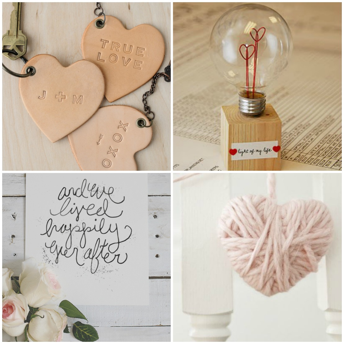 4 picture collage with leart keychain hearts lightbulb wire hearts. free printable and pink yarn heart