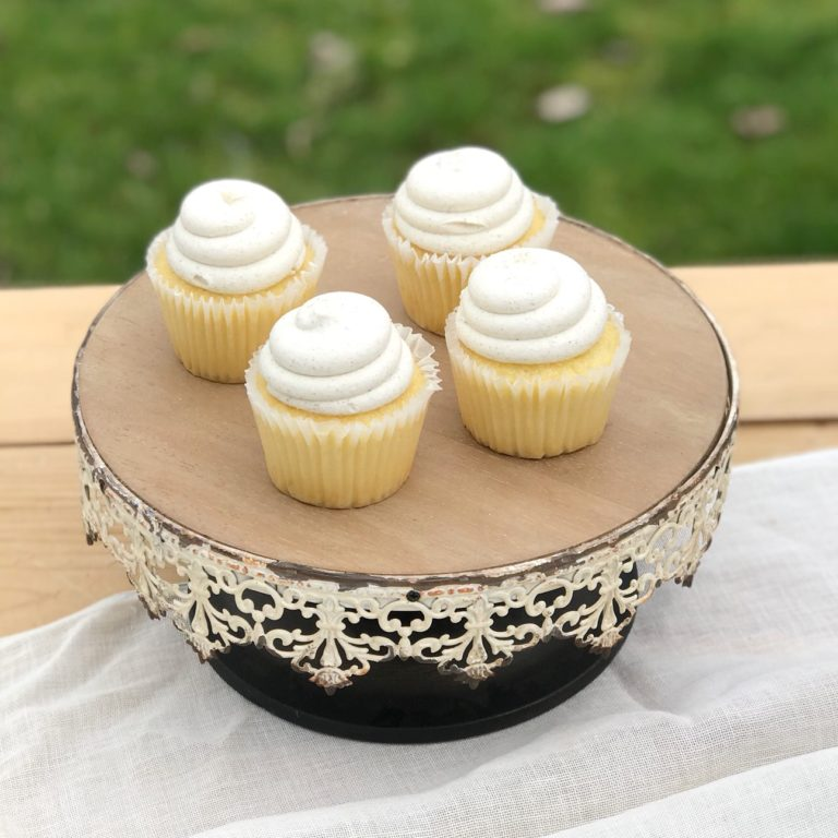Vanilla Lavender Cupcakes Filled with Lemon Buttercream Frosting