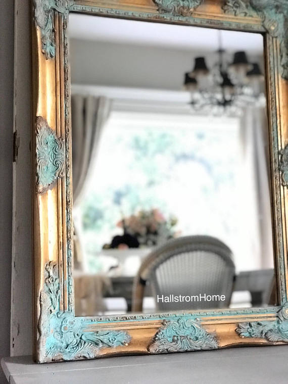 gold and patina mirror