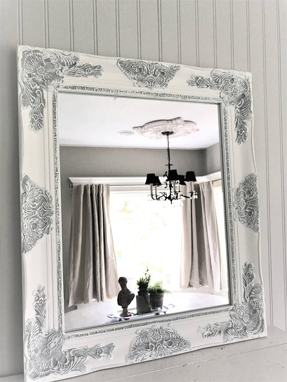 white and gray mirror
