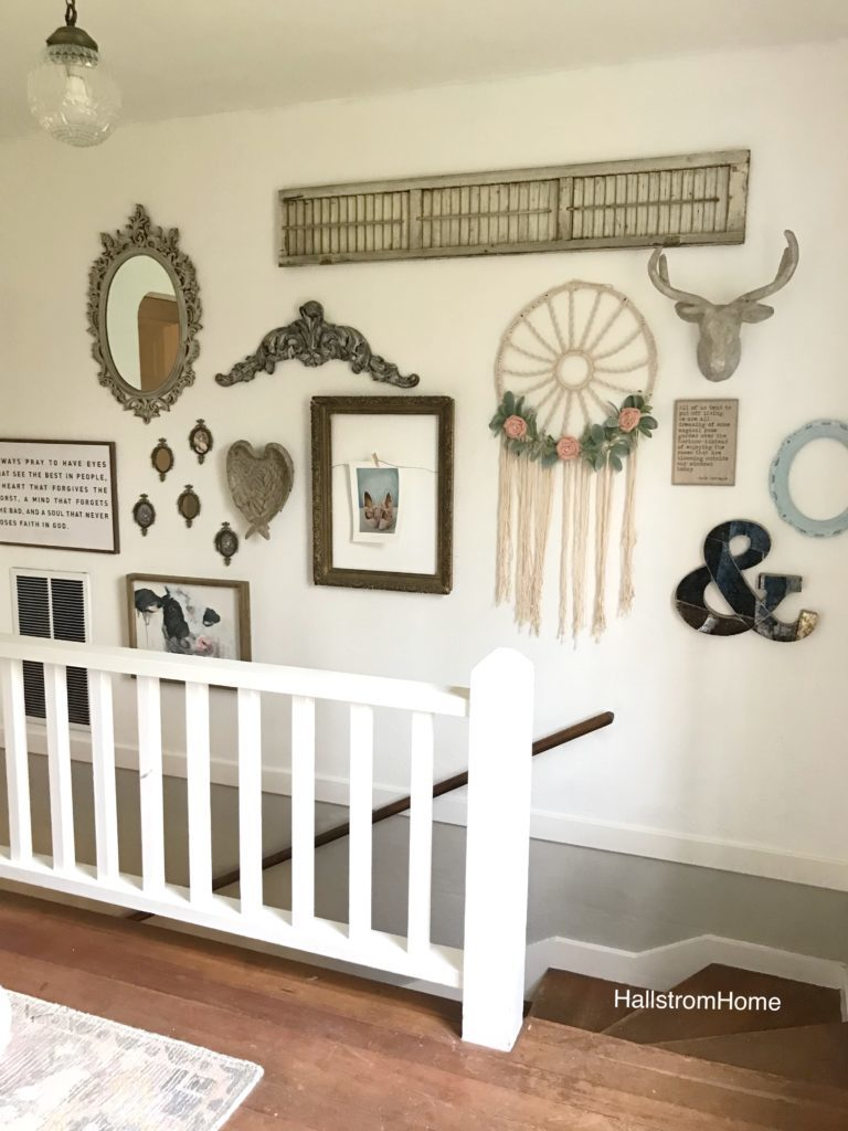 farmhouse gallery wall on stairway