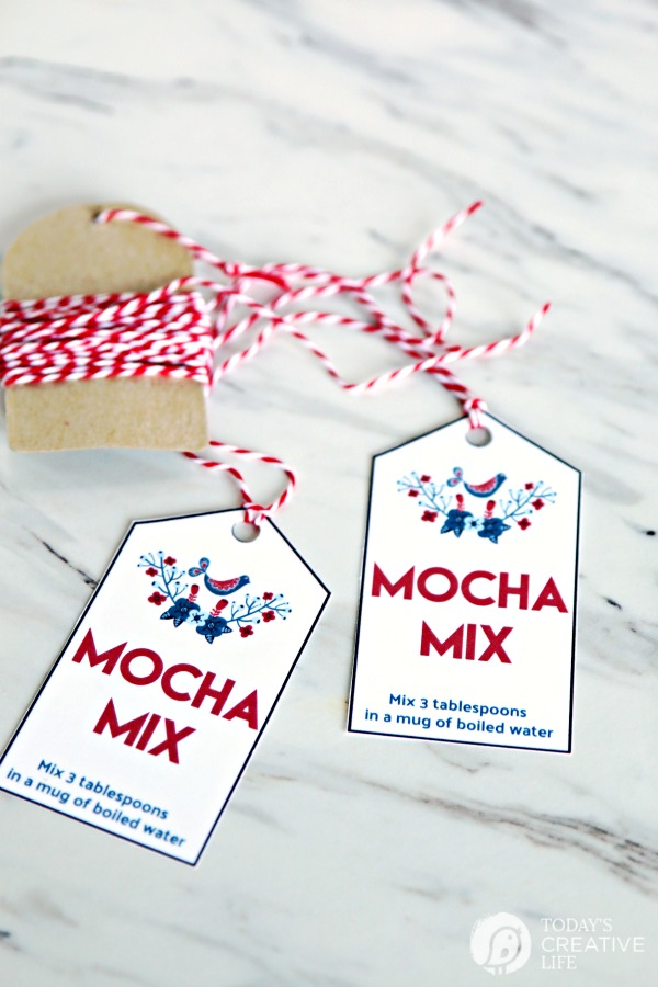 mocha mix 2 printable tage with red and white twine