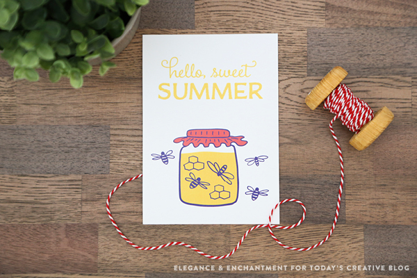 hello sweet summer printable with jar of honey and bees. printable ontop of wood table and spool of red and white twine