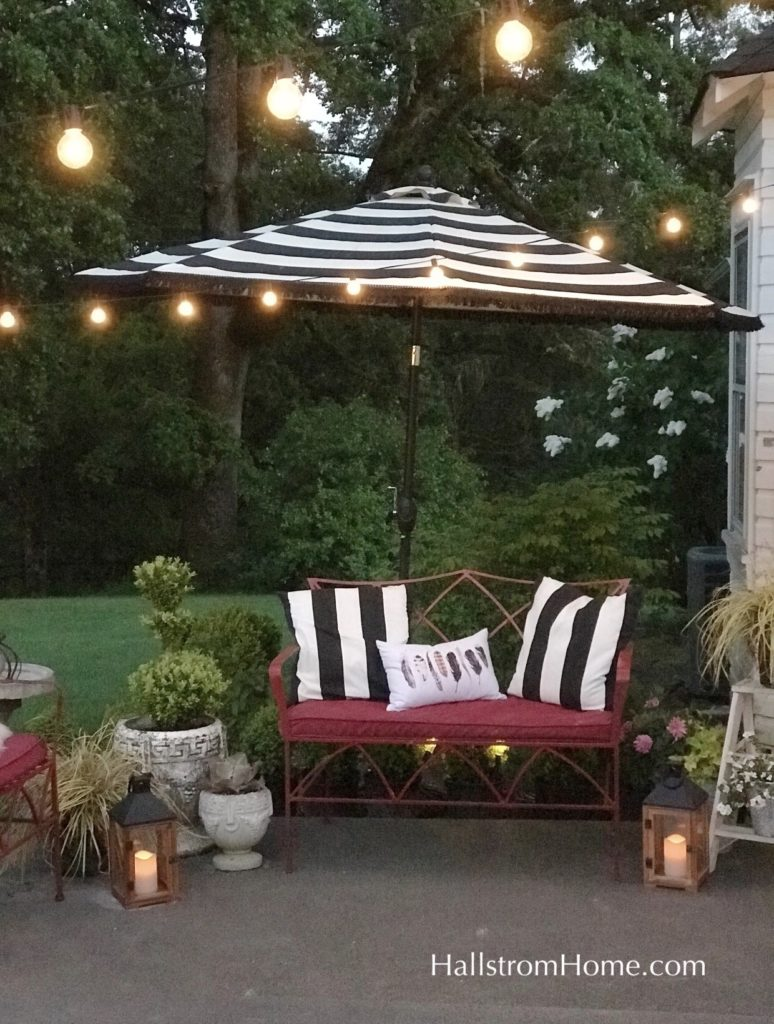 How to Add Fringe to a Outdoor Umbrella|fringe umbrella|striped umbrella|fringe striped umbrella|boho umbrella|outdoor umbrella|boho decor|boho patio umbrella|boho farmhouse|patio update|home decor|hallstromhome