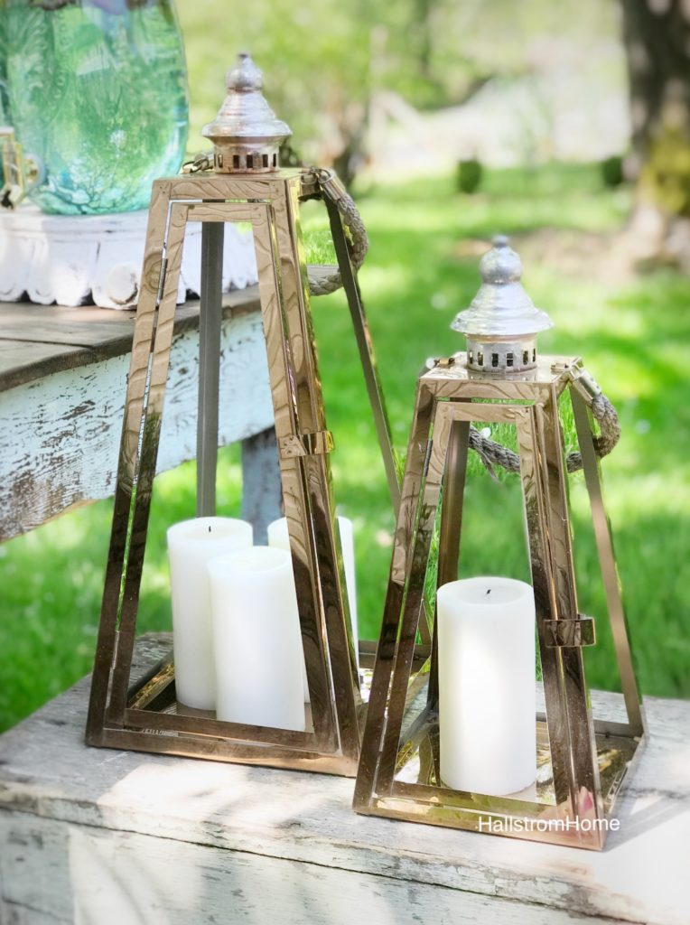 2 copper outdoor lanterns