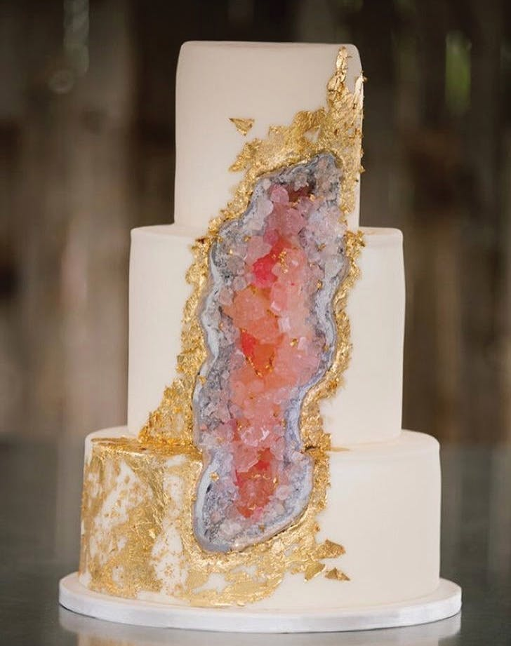 pink geode cake with gold