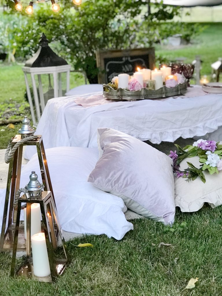 Make Your Outdoor Shabby Chic Wedding Extra Special|outdoor wedding|backyard wedding|weddingdecor|shabby chic|wedding|wedding table|simple wedding|shabby chic wedding|hallstrom home|candle lit wedding|wedding design