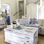 My Secrets to Milk Painting Furniture the Easy Way white chippy chest in living room
