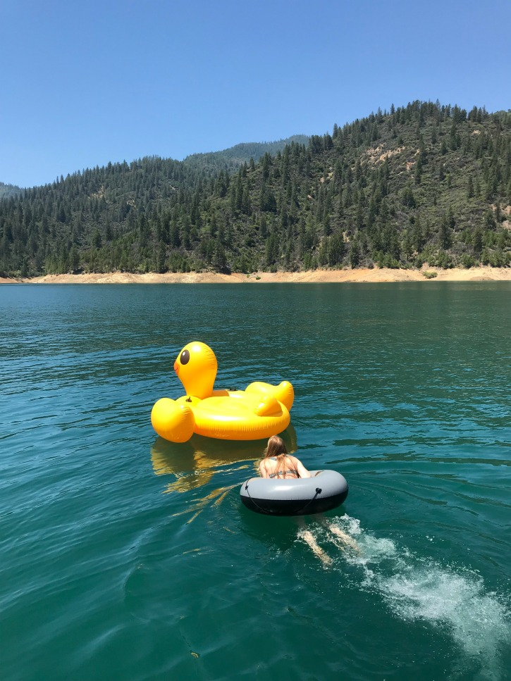 duck floaty on lake