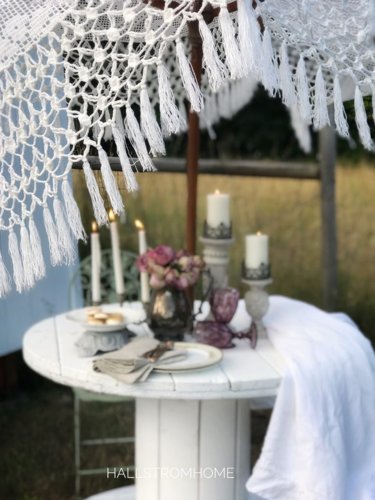 lace umbrella with table setting on white table